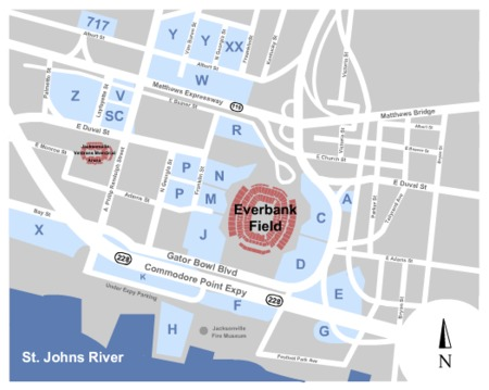 EverBank Field Parking Lots