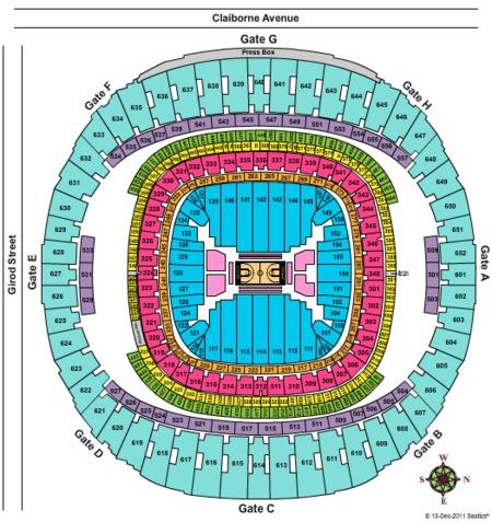 Mercedes benz superdome tickets mercedes benz superdome for Mercedes benz dome new orleans seating chart